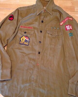 1940s BOY SCOUT SHIRT With BADGES PATCHES PINS Belprie Ohio