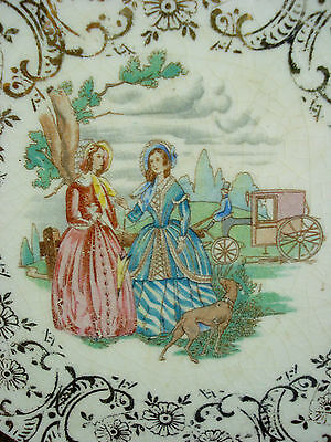 "Vtg Paden City Pottery 22kt gold pastel 7.5"" plate Victorian Ladies with hound"