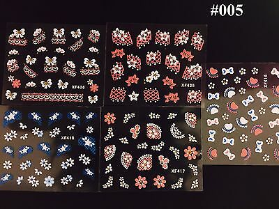 5 sheets of Lovely Flower Lace White Pink 3D Nail Art Stickers-US Seller