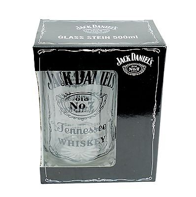 JACK DANIELS Old No.7 GLASS STEIN - Man Cave Whiskey Den Bar Man's Gift