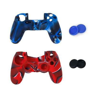 2x Silicone Cover Custodia + Joystick Thumbstick Caps for Sony PS4 Controller