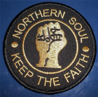 Northern Soul Patch - Keep The Faith - Black - Blue Or Red And Gold - 85Mm Dia