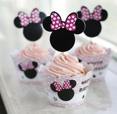 Disney Minnie Mouse Happy Birthday Party Cupcake Wrappers & Toppers Pack Of 12