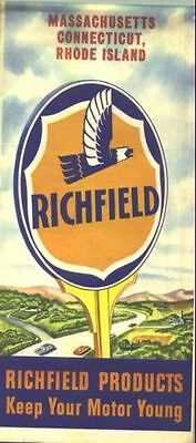 1950 Richfield Mass/Connecticut/Rhode Island Vintage Road Map