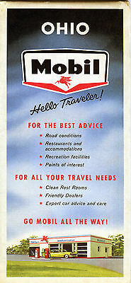1959 Mobil OHIO Vintage Road Map