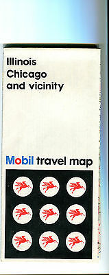 1972 Mobil Illinois/Chicago and Vicinity Vintage Road Map