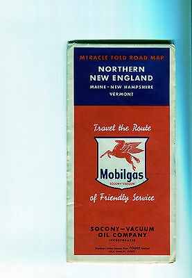 1955 Mobil Northern New England Vintage Road Map