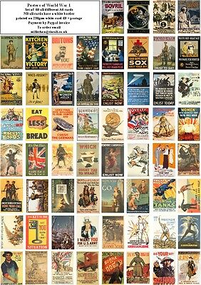 Ww1 Propaganda Posters -60 All Different A6 Artcards