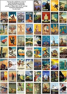 Vintage Travel Posters Series 2  -60 All Different A6 Art Cards