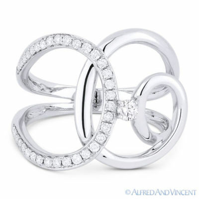 0.33 ct Round Cut Diamond Right-Hand 14k White Gold Overlap Loop Fashion Ring