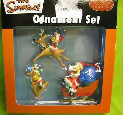 2005 The Simpsons Holiday Christmas Ornaments Heirloom Collection Homer Bart &