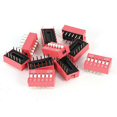 10 Pcs Red 2.54mm Pitch 12 Pins 6 Positions Ways Slide Type DIP Switch