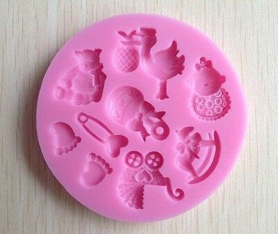 Silicone Baby Shower Chocolate Fondant Soap Ice Mould Eco-friendly Durable