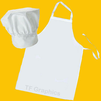 Design Your Own Adult White Custom Personalised Chef Hat and Apron Set