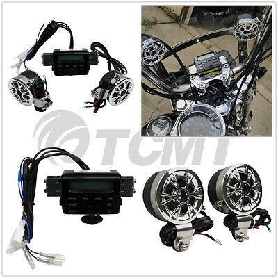 Motorcycle Sound System Handlebar Mount 2 Speakers FM Radio Audio MP3 Stereo 12V