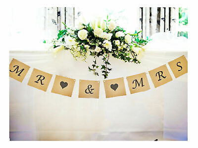 Mr & And Mrs Bunting Wedding Venue Top Table Decoration Banner Garland Vintage