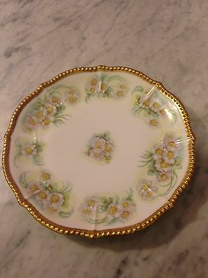 "Elite  Limoges-8.25"" Plate-Signed-Hand Painted -Gold Rim"