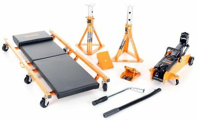 Halfords 5 Piece Lifting Kit Vehicle Car Van Trolley Jack Axle Stands Lifter Set