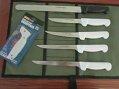 Dext.russell 7 Pce Fishermans Knife Boat Set Pkge.with Heavy Aussie Canvas Wrap