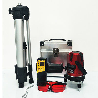 5 Lines Laser Auto Leveling + Tripod + Detector Receiver Multi Cross Rotary Base