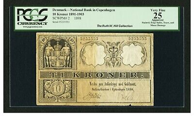 Denmark P-2 1898 1891-1903 10 Kroner VF 25 National Bank of Copenhagen