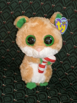 """Ty Boo CANDY CANE Christmas Hamster - Mouse 6"""" RARE Mint/Mint tag"""
