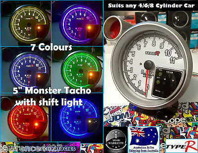 "5"" Monster Tacho 7 Colour & Shift Light *Gauge RPM Skyline WRX Civic Rev Turbo*"