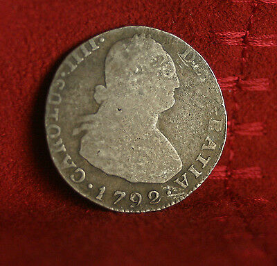 1792 Bolivia 2 Reales Silver World Coin South America Spanish Colonial
