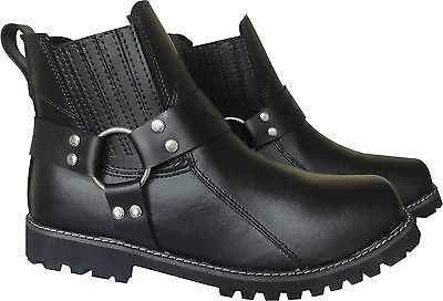 Classic Motorcycle Biker Leather Harness Short Boots Antislip Sole