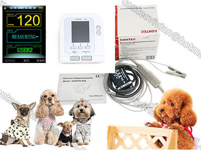 FDA Digital Veterinary Blood Pressure Monitor CONTEC08A, VET BP cuff +SPO2 Probe