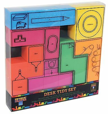 New Tetris Desk Tidy Gift Set Tetromino Stress Block,Stapler,Tape,Pencils