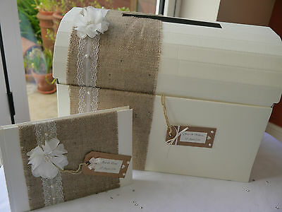 Wedding post box & guest book decorated, shabby chic, vintage, flower, hessian