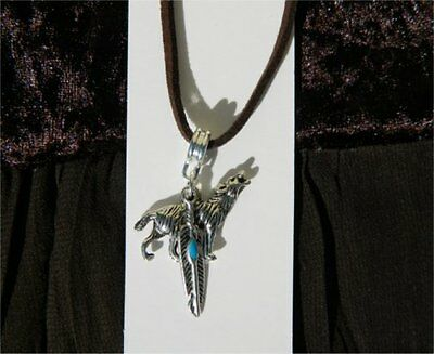 Wolf Feather Pendant Necklace - Animal Totem