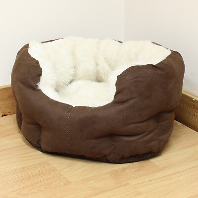Extra Small Brown/Cream Luxury Plush Soft Cat/Dog/Puppy Pet Bed Furry/Comfy/Warm