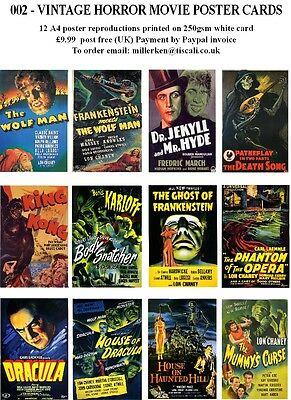 Horror Movie Poster Cards  - 12 A4 Vintage Horror Movie Poster Reproductions