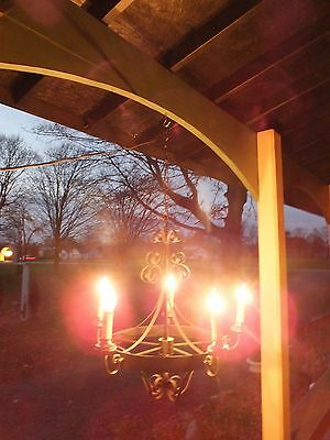 Black Wrought Iron SPANISH REVIVAL 5 Arm Chandelier - Ready to Hang
