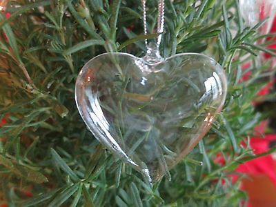 Glass Heart Ornament Clear Glass