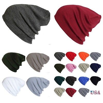 Men Women Plain Beanie Cap Knit Ski Baggy Slouchy Army Hip Hop Winter Warm Hats