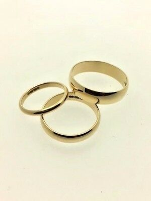 9ct Gold Hallmarked Wedding Band D-Shape-Choose Ring Size & Width Mens/Women's
