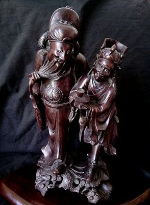 """Antique highly detailed Chinese wood carving 18th century 16"""" tall Very heavy"""