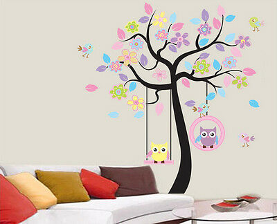Cute Owl and Tree Flower Removable Decal Art Mural Home Decor DIY Wall Stickers