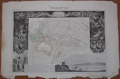 Levasseur: Large Decorative Map Pacific Australia New Zealand Hawaii - 1854