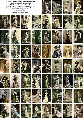 Ladies Clothing Fashions 1905-1910 - 60 All Different A6 Art Cards