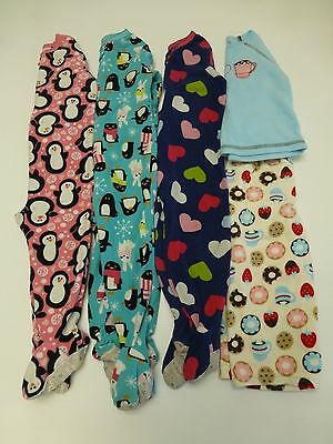 5 Piece Baby Girls Size 24M & 2T Fleece Pajama Lot Great Condition