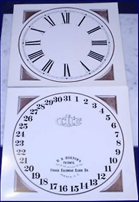 Ithaca Calendar Clock Replacement Dials For The Early Farmer #10 Old Stock Gloss