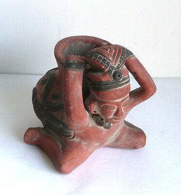 Vintage Art Pottery Aztec /Maya Terracotta Clay Pot Figurine Replica Museum Copy