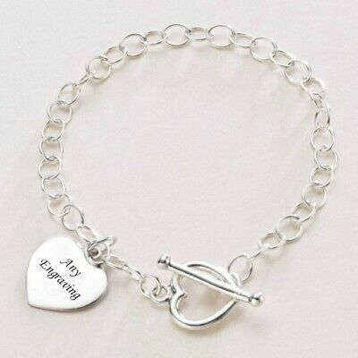 Sterling Silver Charm Bracelet With Engraving on Heart Charm, Toggle Clasp