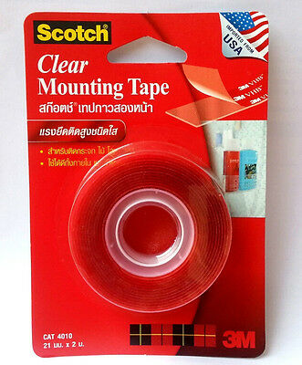 Clear Mounting VHB Tape Permanent Scotch 3M 4010   21mm x 2m Free Shipping