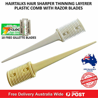 Hair Sharper Thinning Layerer Shaper Cutting Plastic Comb Plus 10 Razor Blades
