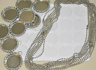"20- DIY KIT! 20 FLAT BOTTLECAPS w/ rings, 20-1"" EPOXY,20- BALL CHAIN NECKLACES"